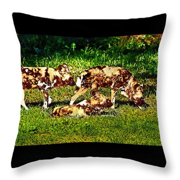 African Wild Dog Family Throw Pillow
