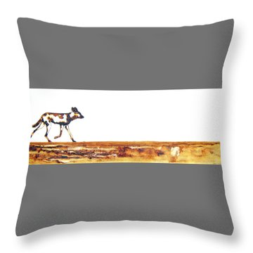 Endangered African Wild Dog - Original Artwork Throw Pillow
