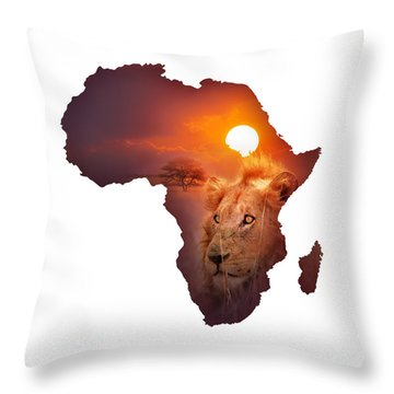 African Wildlife Map Throw Pillow
