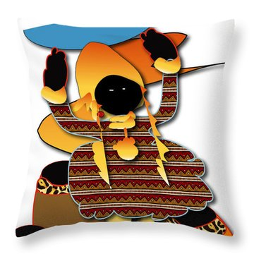 Throw Pillow featuring the digital art African Worker by Marvin Blaine