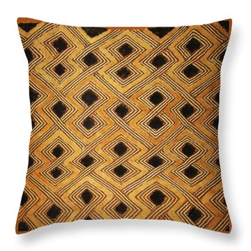African Zaire Congo Kuba Textile Throw Pillow