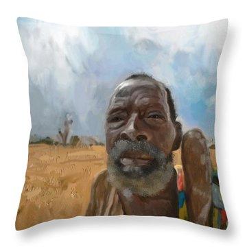 Throw Pillow featuring the mixed media Afrikan Bushman by Vannetta Ferguson
