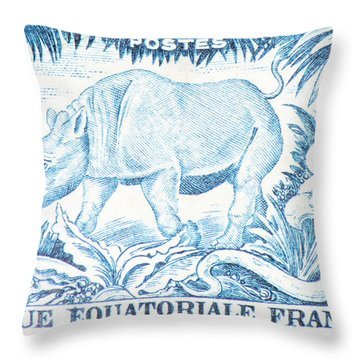 Afrique Rhino Throw Pillow