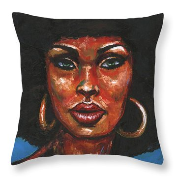 Throw Pillow featuring the painting Well Hello by Alga Washington