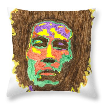 Throw Pillow featuring the painting Afro Bob Marley by Stormm Bradshaw