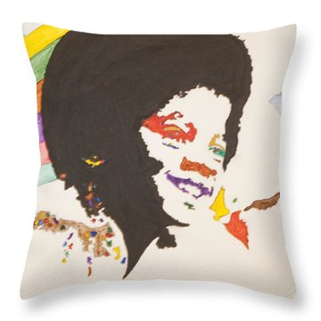 Throw Pillow featuring the painting Afro Michael Jackson by Stormm Bradshaw