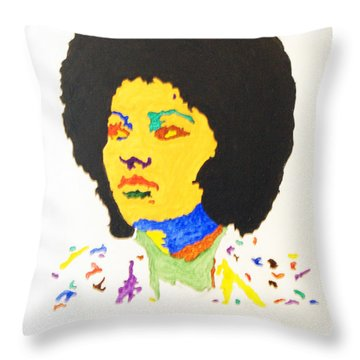Throw Pillow featuring the painting Afro Pam Grier by Stormm Bradshaw