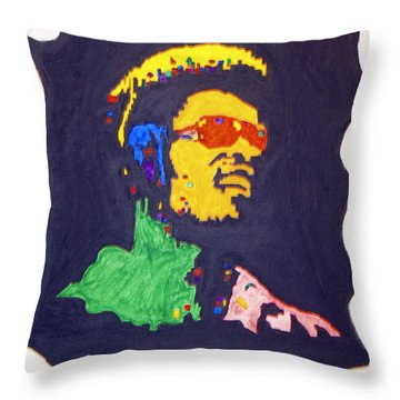 Throw Pillow featuring the painting Afro Stevie Wonder by Stormm Bradshaw