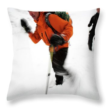 After An Afternoon Of Ice Climbing, Two Throw Pillow