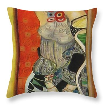 Throw Pillow featuring the painting After Gustav Klimt by Sylvia Kula