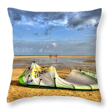 Throw Pillow featuring the photograph After Kiteboarding Session by Julis Simo