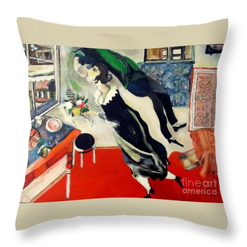 after Marc Chagall Throw Pillow by Jodie Marie Anne Richardson Traugott          aka jm-ART