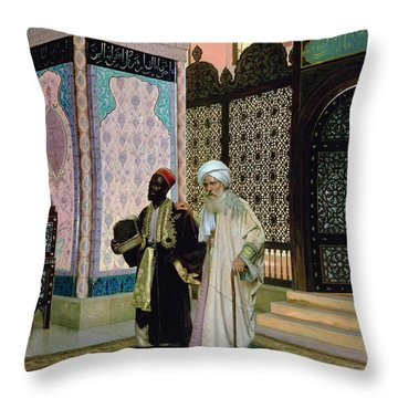 After Prayers At The Mosque Throw Pillow by Rudolphe Ernst