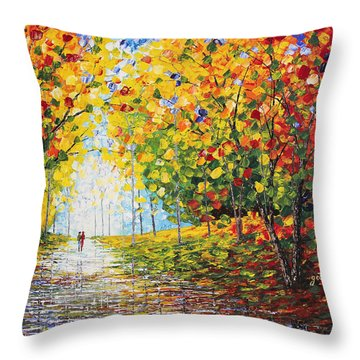 Throw Pillow featuring the painting After Rain Autumn Reflections Acrylic Palette Knife Painting by Georgeta Blanaru