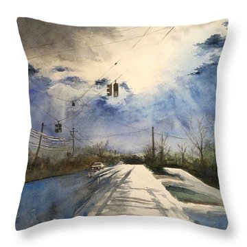 After Rain -on The Michigan Ave. Saline Michigan Throw Pillow by Yoshiko Mishina