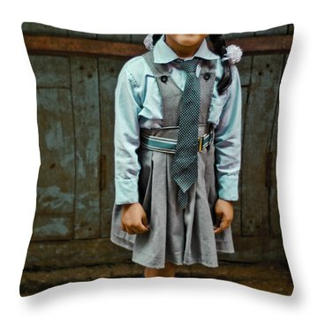After School Pose Throw Pillow by Valerie Rosen