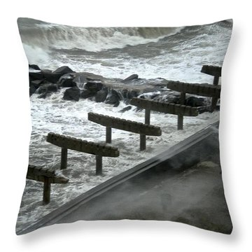 Throw Pillow featuring the photograph After Storm Sandy by Joan Reese