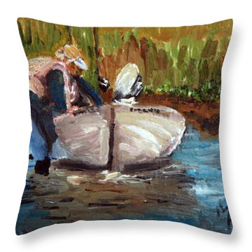 Throw Pillow featuring the painting After The Fish by Michael Helfen