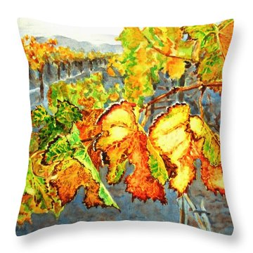 Throw Pillow featuring the painting After The Harvest by Karen Ilari