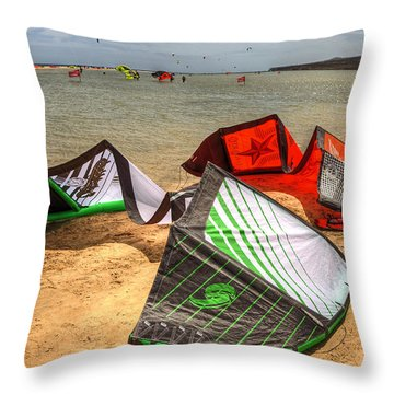 Throw Pillow featuring the photograph After The Kite Session by Julis Simo