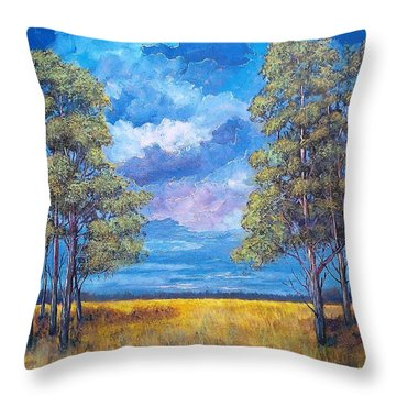 Throw Pillow featuring the painting After The Rain by Suzanne Theis