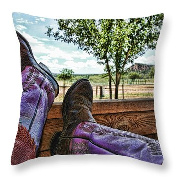 After The Ride Throw Pillow by Karen Slagle