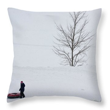 Throw Pillow featuring the photograph After The Snow Tube Ride by Ann Murphy
