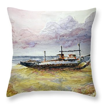 Throw Pillow featuring the painting After The Storm by Joey Agbayani