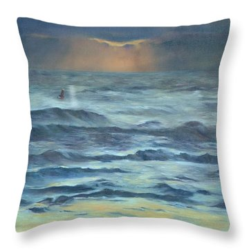 Throw Pillow featuring the painting After The Storm by Lori Brackett