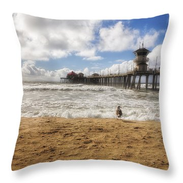 After Winter Storm At Pier Throw Pillow