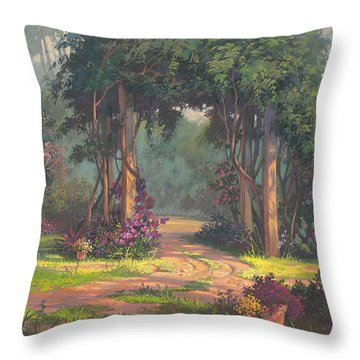 Throw Pillow featuring the painting Afternoon Arbor by Michael Humphries
