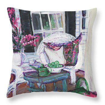 Afternoon At Emmaline's Front Porch Throw Pillow by Helena Bebirian
