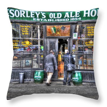 Afternoon At Mcsorley's Throw Pillow by Randy Aveille