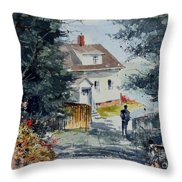 Afternoon At Owl's Head Lighthouse Throw Pillow