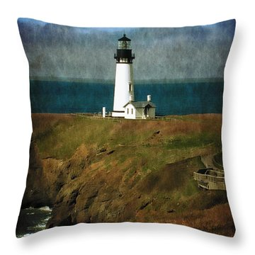 Afternoon At The Yaquina Head Lighthouse Throw Pillow