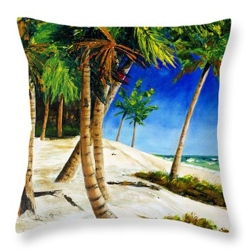 Afternoon Beach Walk Throw Pillow