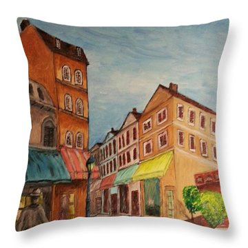 Afternoon Cafe Throw Pillow by Irving Starr
