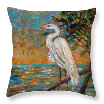 Afternoon Egret Throw Pillow