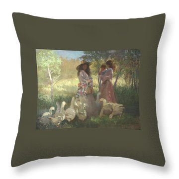 Afternoon Gathering Throw Pillow