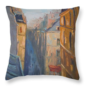Afternoon In Rue Leopold Bellan Throw Pillow by NatikArt Creations