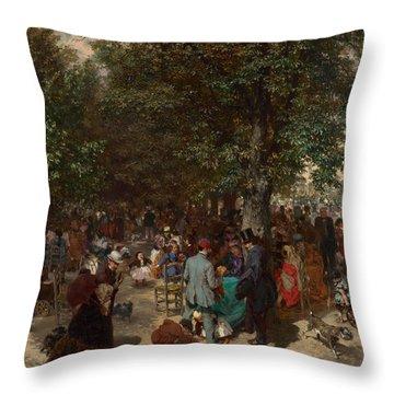 Afternoon In The Tuileries Gardens Throw Pillow by Adolph Friedrich Erdmann von Menzel