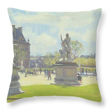Afternoon In The Tuileries, Paris Oil On Canvas Throw Pillow