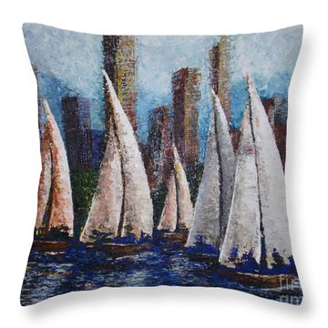 Afternoon Race 2012 Throw Pillow by Tatjana Popovska