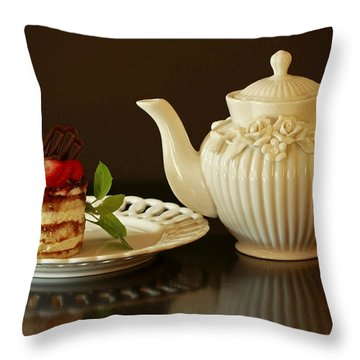Afternoon Tea And Tiramisu Throw Pillow by Inspired Nature Photography Fine Art Photography