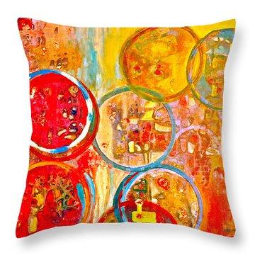 Against The Rain Abstract Orange Throw Pillow