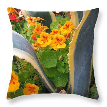 Agave And Nasturtiums Throw Pillow