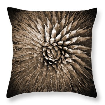 Agave Spikes Sepia Throw Pillow by Alan Socolik
