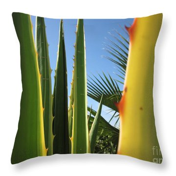 Agaves And Palm Trees Throw Pillow