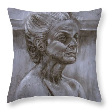 Aged Woman Throw Pillow