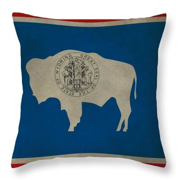 Aged Wyoming State Flag Throw Pillow by Dan Sproul
